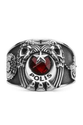 Çift Kartal Başlı Tuğralı Polis Yüzüğü Kırmızı Taşlı ANYZK-0181-2-CIFT
