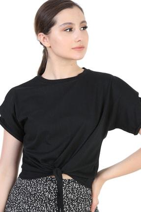 Kadın Siyah Önü Bağlamalı Vatkalı Bluz HG0500385
