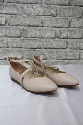 Kadın Krem Rugan Babet Ayakkabı 100815