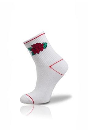 Unisex Beyaz Gül Desenli Çorap VSocksM348