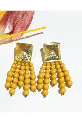 Kadın Gold Renk Boncuklu Küpe TY1256