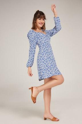 Kadın Mavi Viskon Elbise ED20EL0006MAVI