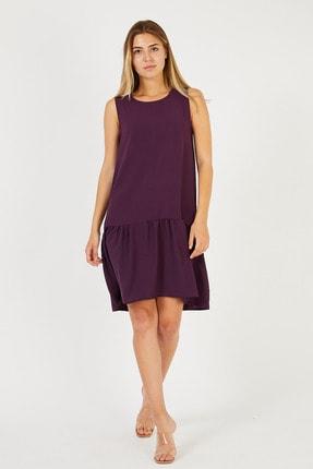 Kadın Mor Kolsuz Eteği Parçalı Ve Büzgülü Elbise MM3068
