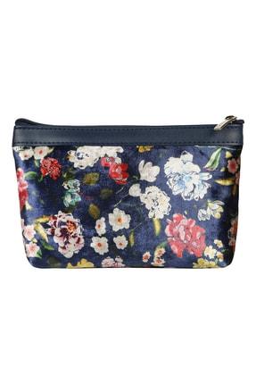 Çanta Boy Lacivert Çiçekli Makyaj Ve El Çantası MAKKDF12
