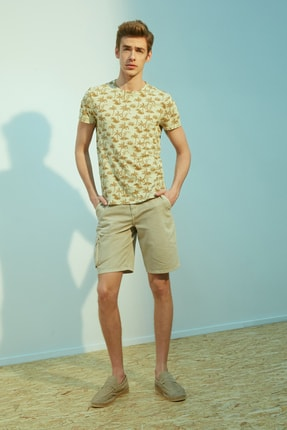 Erkek Taş Bisiklet Yaka Baskılı Pamuk T-Shirt 371574