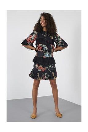 Siyah Gömlek Bağcıklı Yaka Yarım Kol Piliseli Kumaş Mixli Diz Üstü Boy Baskılı Elbise ST050S4076601