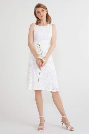 Kadın Ekru Dantel Elbise Y20EL276