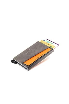Gri Unisex Crazy Hakiki Deri Mekanizmalı Kartlık 6215580 WPT5580
