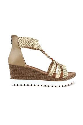 3240-1 Kadın T-strap Dolgu Topuk Sandalet 20y 3240-1-1586