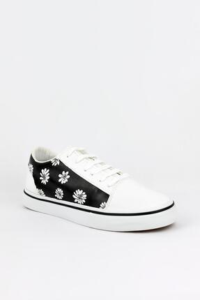 Unisex Beyaz El Çizimi Çiçek Detaylı Ayakkabı S0008
