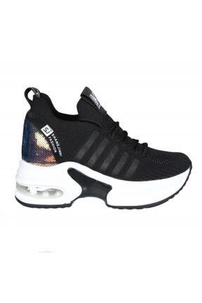 20y308-7 Dolgu Topuk Siyah Kadın Sneakers 20Y308-7 Dolgu Topuk