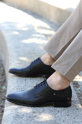 Hakiki Deri Kösele Siyah Antik Erkek Klasik Ayakkabı 893ma0208 893MA0208