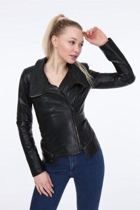 Kadın Siyah Deri Ceket Zg7049 VZG7049000014