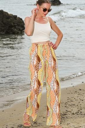 Kadın Multi Çiçek Desenli Salaş Pantolon ALC-X4563