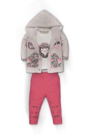 Kız Çocuk Pembe Leopar Desenli Kapüşonlu Takım 3'lü Set 5048PFN