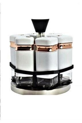 Caprice 6'lı Dönerli Baharatlık Takımı Beyaz WHITEHOME-00942