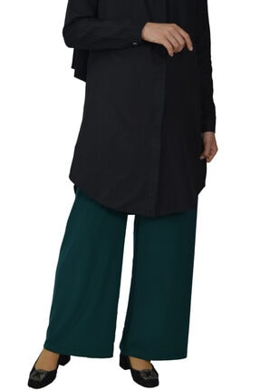 Beli Lastikli Bol Paça Pantolon Zümrüt Yeşil 4560