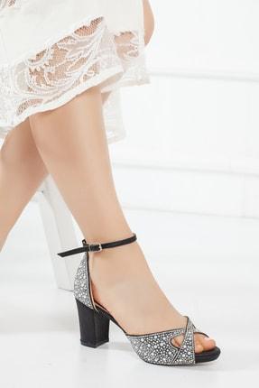 Siyah Inci Taş Kadın Abiye Ayakkabı Cnr911 CNR911