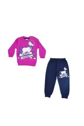 Kids Club Dijital Desenli Kız Çocuk Pijama Takımı Koyu Pembe LFM00085