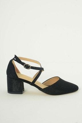 Kadın Siyah Simli Abiye Topuklu Ayakkabi SR509140
