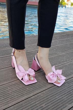Kadın Pembe Kurdaleli Topuklu Şık Ayakkabı AYKB0010