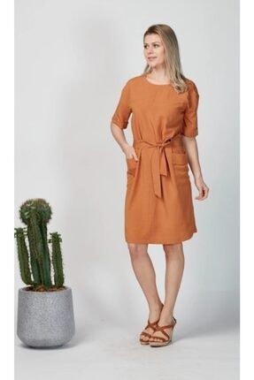 Kadın Tarçın Rengi Keten Elbise 45287