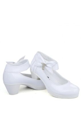 Beyaz Çocuk Topuklu Abiye Ayakkabı çocuk abiye ayakkabısı000002
