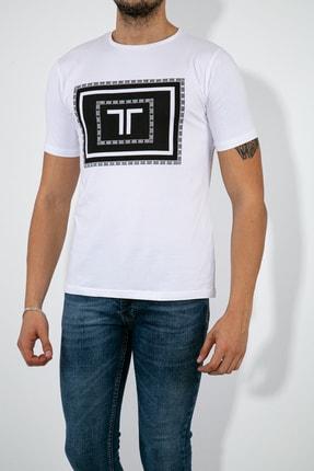 Erkek Beyaz T Logo Baskılı T-shirt 1234TLOGO