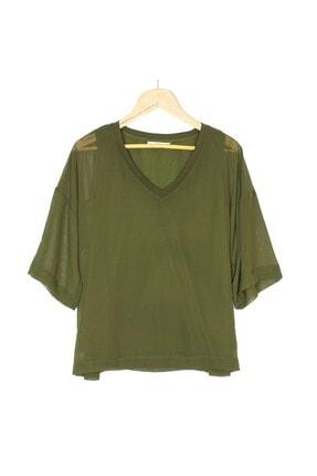 Kadın Haki Şifon Bluz GIY1762