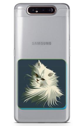 Samsung Galaxy A80 Kılıf Kedi Minyatur Arka Kapak Koruma Desenli Full Koruyucu mfoni_529005