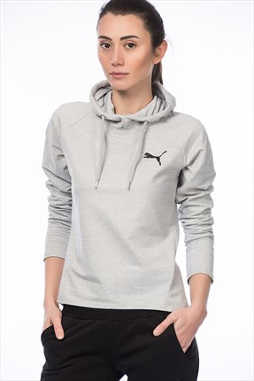 Puma Kadın Spor Sweatshirt - Actıve Ess Hooded Cover Up W Light Gray