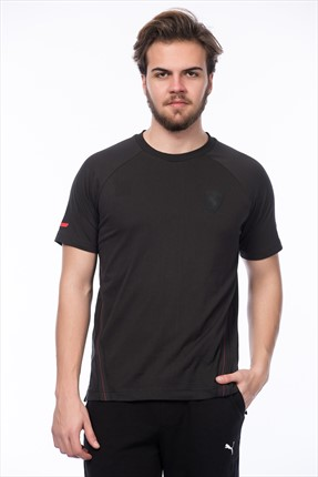 Puma Erkek Motorsport T-shirt - Ferrari Small Shield Tee Moonless Night