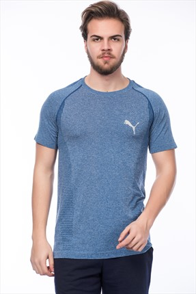 Puma Erkek Spor T-shirt - evoKNIT Basic Tee TRUE BLUE Heather
