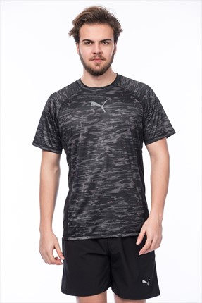 Puma Erkek Performans T-shirt - VENT SS Graphic Tee Black-quiet sha