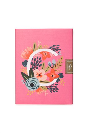 Rifle Paper Co. Boxed Set Of 8 Floral Monogram Flat Cards - Letter C