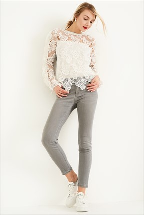 TRENDYOLMİLLA Grey Normal Bel Skinny Jean