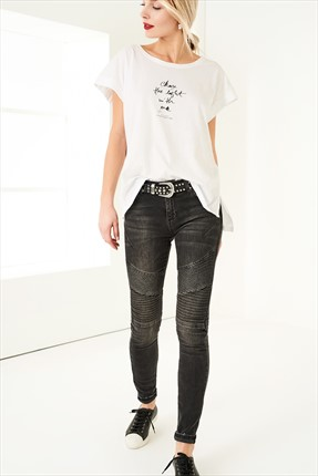 TRENDYOLMİLLA Grey Normal Bel Biker Jean