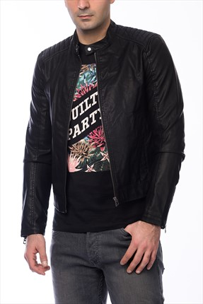 Jack & Jones Ceket - Black Originals Black On Black Biker -