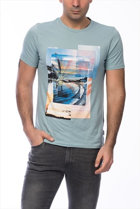 Jack & Jones Açık Mavi T-Shirt - Beachie Originals Tee SS Crew Neck -