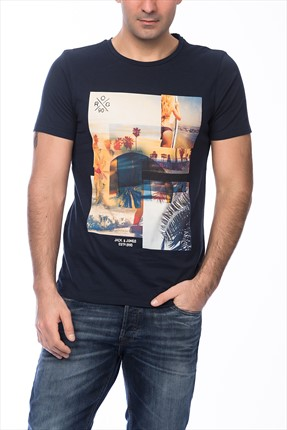 Jack & Jones Lacivert T-Shirt - Beachie Originals Tee SS Crew Neck -