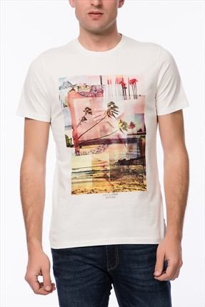 Jack & Jones Beyaz T-Shirt - Beachie Originals Tee SS Crew Neck -
