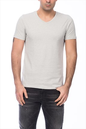 Jack & Jones Açık Gri T-Shirt - Otron Core Tee SS V-Neck -