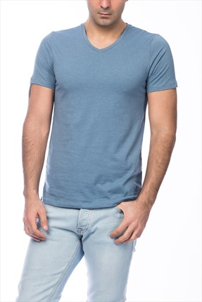 Jack & Jones Mavi T-Shirt - Otron Core Tee SS V-Neck -