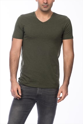 Jack & Jones Yeşil T-Shirt - Otron Core Tee SS V-Neck -