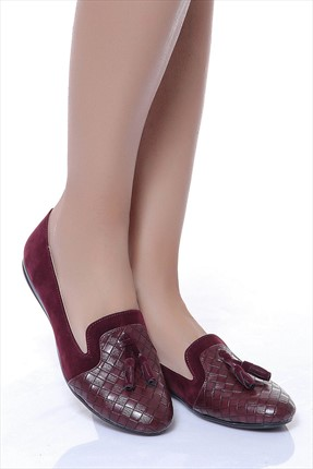 Shoes Time Bordo Kadın Babet 17Y 2101