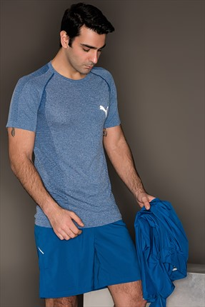 Puma Erkek Spor T-Shirt - Evoknıt Basic Tee True Blue Heather