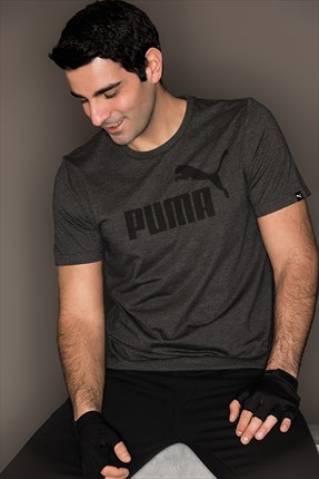 Puma Erkek Spor T-Shirt - Ess No.1 Heather Tee Dark Gray Heather