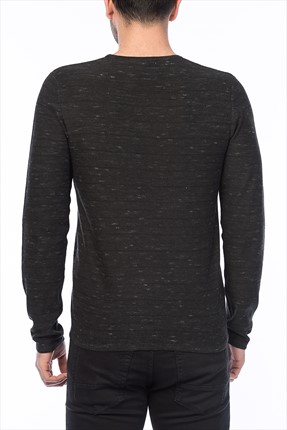 Koyu Gri Sweatshirt - Lope Core Knit Crew Neck -
