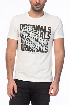 Jack & Jones Beyaz T-Shirt - Letter Originals Tee Crew Neck -
