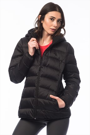 Kadın Mont - ESS Hooded Down Jacket W Black